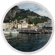 Amalfi Town Seen From Ferry Approaching Round Beach Towel
