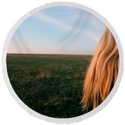 Amber Waves Round Beach Towel by Carl Young