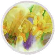 Amenti Yellow Iris Flowers Round Beach Towel