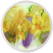 Amenti Yellow Iris Flowers Round Beach Towel