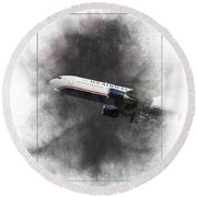 American Airlines Boeing 767-200 Painting Round Beach Towel