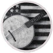 American Banjo Black And White Round Beach Towel