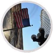 American Flag Downtown La Round Beach Towel