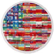 American Flags Of The World Round Beach Towel
