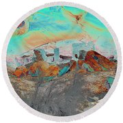 American Indian Home In Abstract Round Beach Towel