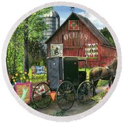 Amish Quilts Round Beach Towel