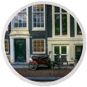 Amsterdam Bike Scene Round Beach Towel