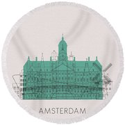 Amsterdam Landmarks Round Beach Towel