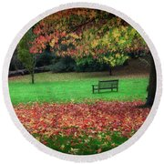 An Autumn Bench At Clyne Gardens Round Beach Towel