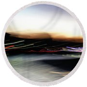 An Early Morning Blur Round Beach Towel