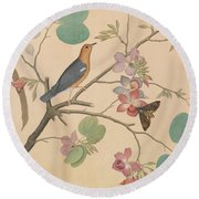An Orange Headed Ground Thrush And A Moth On A Purple Ebony Orchid Branch, 1778 Round Beach Towel