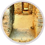 Ancient Windows Aztec Ruins Round Beach Towel