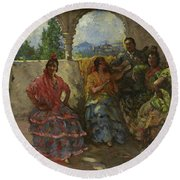 Andalucian Dancers  Round Beach Towel