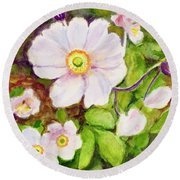 Anemones Birthday Card Round Beach Towel