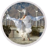 Angel Swirling In The Desert Round Beach Towel