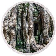 Angkor Roots Round Beach Towel