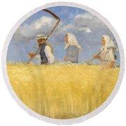 Anna Ancher - Harvesters Round Beach Towel