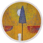 Another Day At The Office Original Painting Round Beach Towel