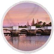 Antique Bridge Of Tavira During Twilight. Portugal Round Beach Towel