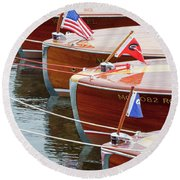 Antique Wooden Boats In A Row Portrait 1301 Round Beach Towel by Rick Veldman