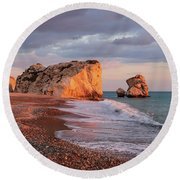 Aphrodite's Birthplace Or Petra Tou Romiou In Cyprus 2 Round Beach Towel