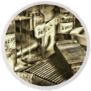 Apothecary-vintage Pill Maker Sepia Round Beach Towel