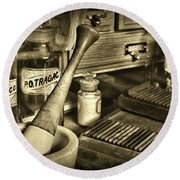 Apothecary-vintage Pill Roller Sepia Round Beach Towel