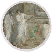 Apparition Of Saint Didacus Above His Sepulchre  Round Beach Towel
