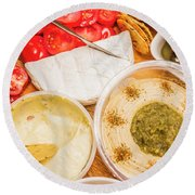 Appetizers Delight Round Beach Towel