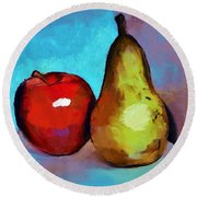 Apple And Pear Round Beach Towel