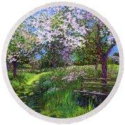 Apple Blossom Trees Round Beach Towel