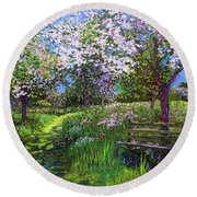 Apple Blossom Trees Round Beach Towel
