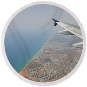 approach to Ben Gurion Airport, Israel w4 Round Beach Towel