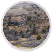 April Badlands Near Amidon Round Beach Towel