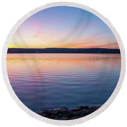 April Dawn On The Hudson River I Round Beach Towel