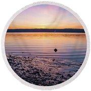 April Dawn On The Hudson River II Round Beach Towel