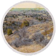 April Prairie Reverie Round Beach Towel