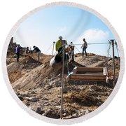 Arabic Ruins At Tall Hasban Round Beach Towel by Mae Wertz