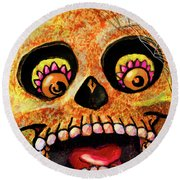 Aranas Sugarskull Of Spiders Round Beach Towel