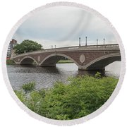 Arch Bridge Over River, Cambridge Round Beach Towel