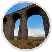 Arches And Piers Of The Ribblehead Viaduct North Yorkshire Round Beach Towel