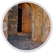 Arches Of A Medieval Castle Entrance In Algarve Round Beach Towel