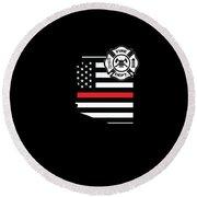Arizona Firefighter Shield Thin Red Line Flag Round Beach Towel
