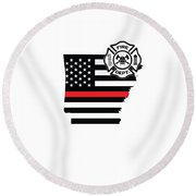 Arkansas Firefighter Shield Thin Red Line Flag Round Beach Towel
