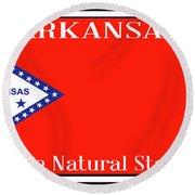 Arkansas State License Plate Round Beach Towel