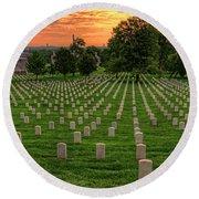 Arlington National Cemetery Sunrise Round Beach Towel