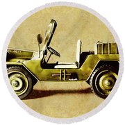 Army Jeep Round Beach Towel