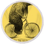 Bears On Bicycles Round Beach Towel by Eric Fan
