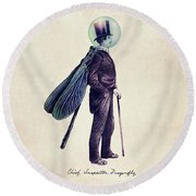 Inspector Dragonfly Round Beach Towel by Eric Fan