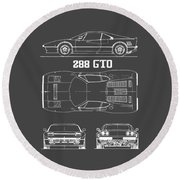 Ferrari 288 Gto Blueprint Round Beach Towel by Mark Rogan